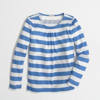 Factory girls' long-sleeve pleated tee in wide stripe