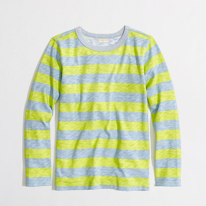 Factory boys' long-sleeve pocket tee in kiwi stripe