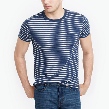 Slim striped pocket T-shirt
