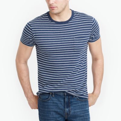 Slim striped pocket T-shirt factorymen slim c