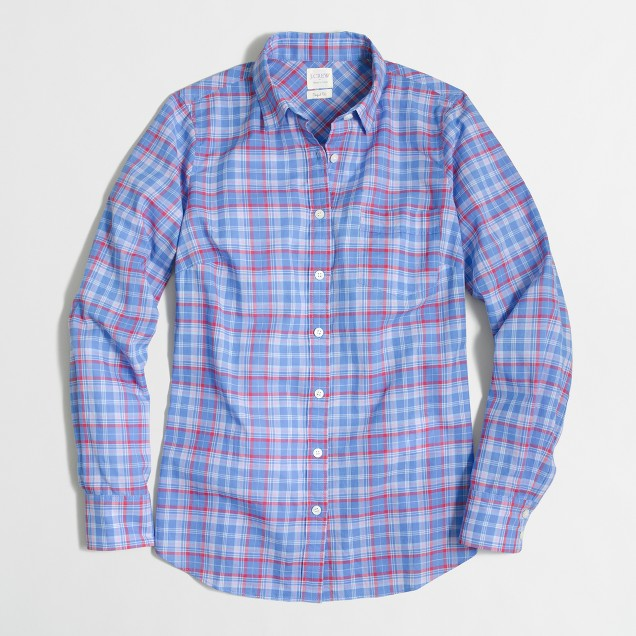 Petite plaid classic button-down shirt in perfect fit