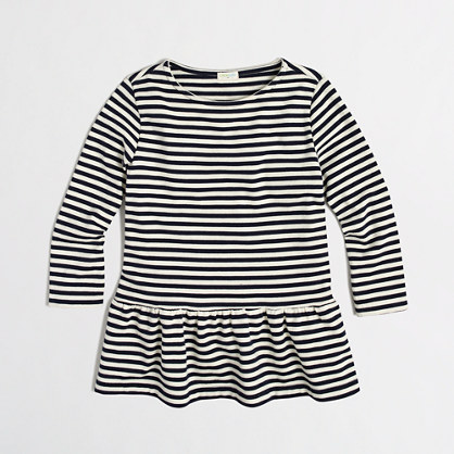 Factory girls' stripe peplum tee