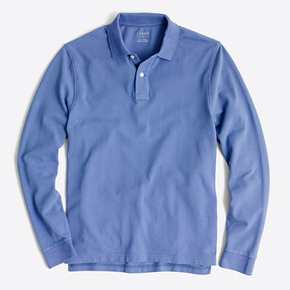 Long-sleeve piqué polo shirt