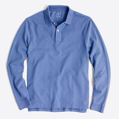 Long-sleeve piqué polo shirt