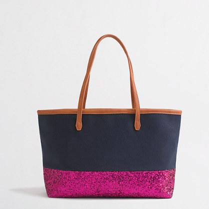 Factory girls' glitter canvas bag
