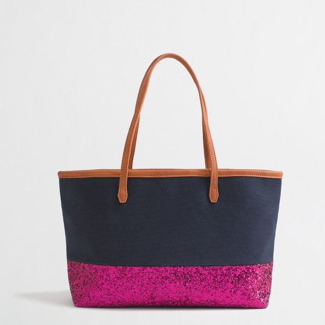 Factory girls' glitter canvas bag