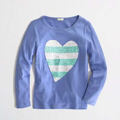 Factory girls' long-sleeve stripe sequin heart keepsake tee in hydrangea