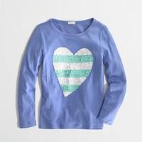 Factory girls' long-sleeve stripe sequin heart keepsake tee in hydrangea