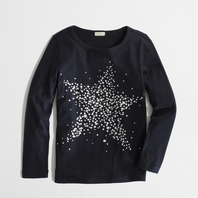 Factory girls' long-sleeve glow-in-the-dark star keepsake tee