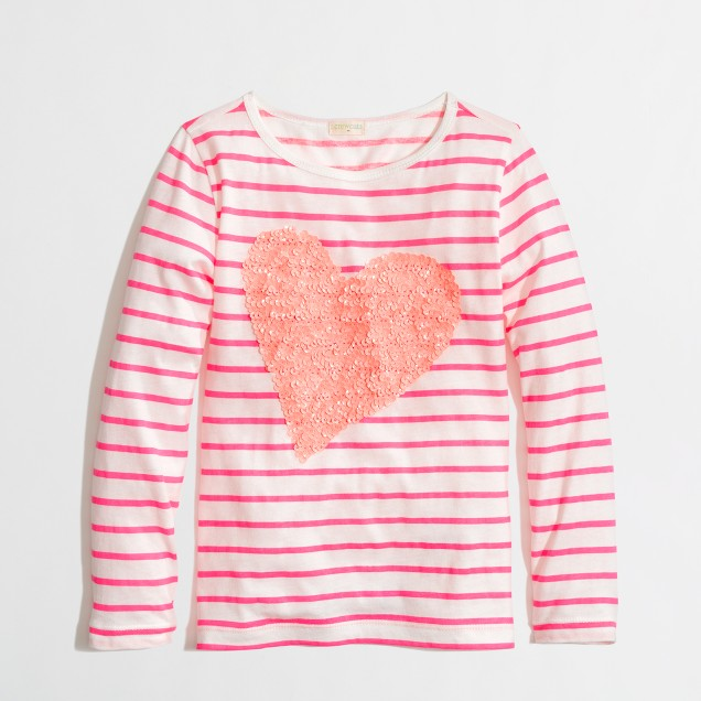 Factory girls' long-sleeve stripe sequin heart keepsake tee in azalea