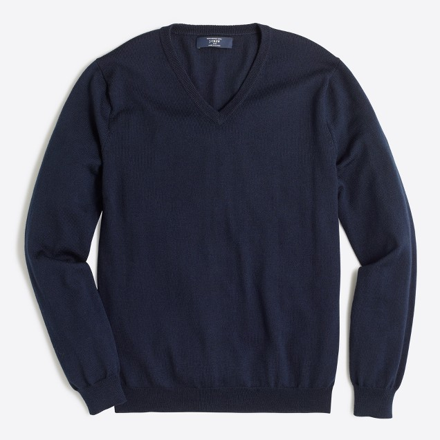 Tall slim merino wool V-neck sweater