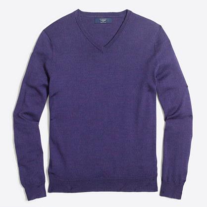 Slim merino wool V-neck sweater