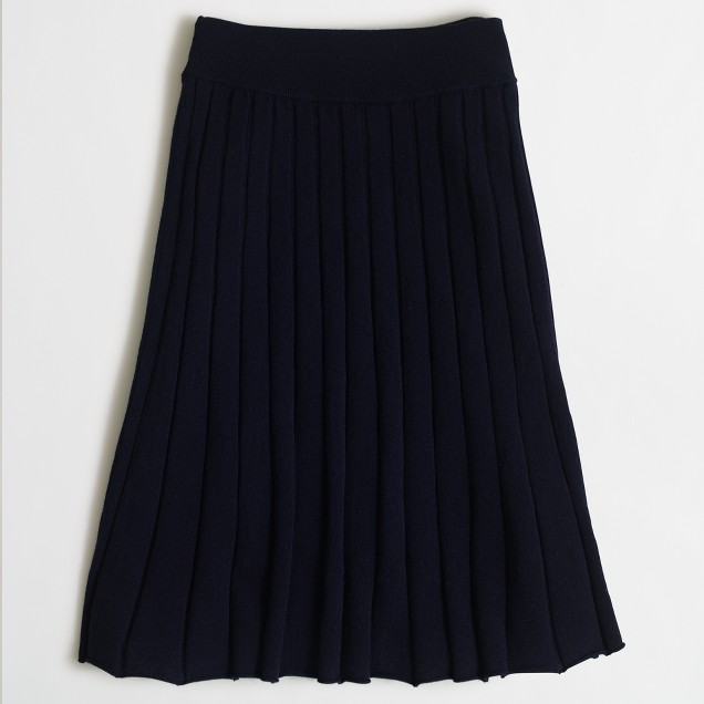 Pleated merino skirt