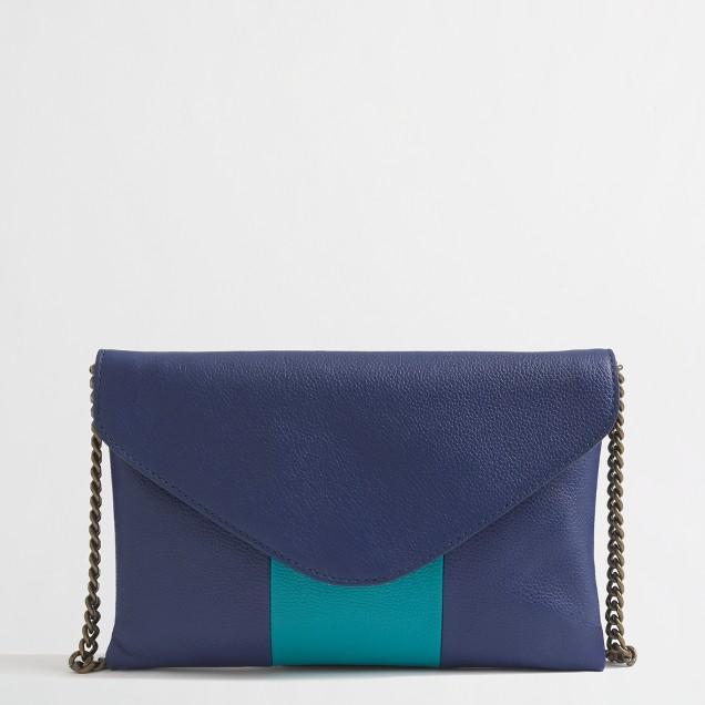 Factory stripe leather envelopeclutch