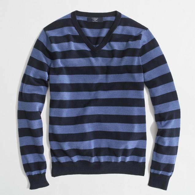 Factory stripe merino V-neck sweater