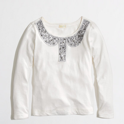 Factory girls' long-sleeve jewel-collar trompe l'oeil keepsake tee