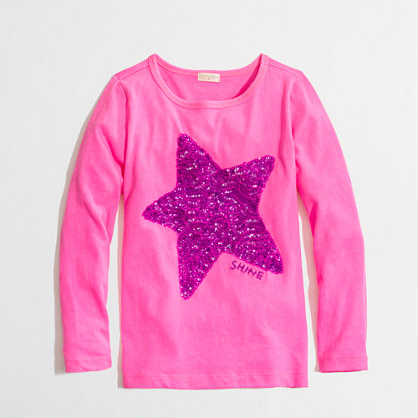 Factory girls' long-sleeve sequin star keepsake tee