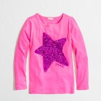 Factory girls' long-sleeve sequin star keepsake tee