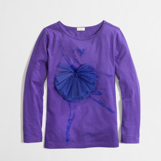 Factory girls' long-sleeve tulle tutu keepsake tee
