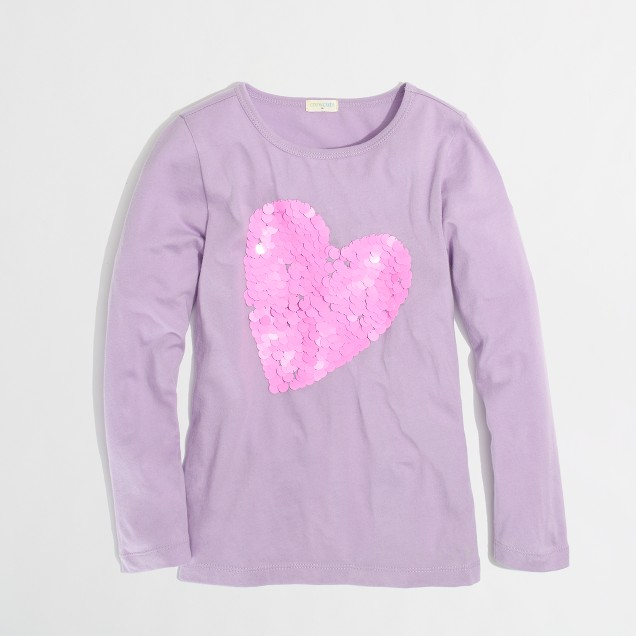 Factory girls' long-sleeve paillette heart keepsake tee