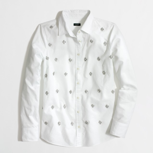 Factory classic button-down shirt in jeweled oxford