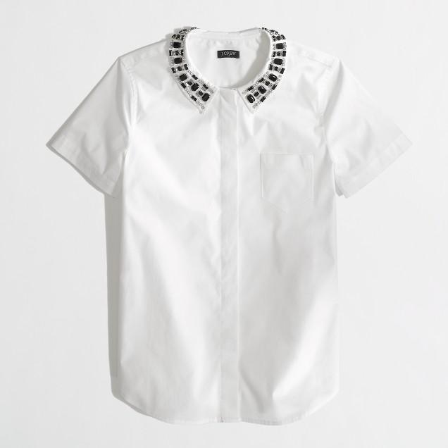 Factory jewel-collar button-down shirt