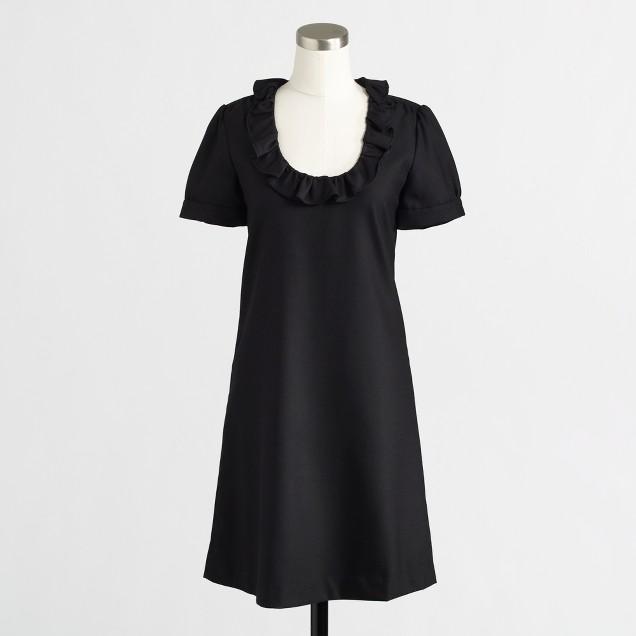 Factory ruffle-collar wool flannel dress