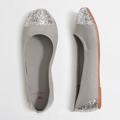Factory girls' glitter cap toe flats