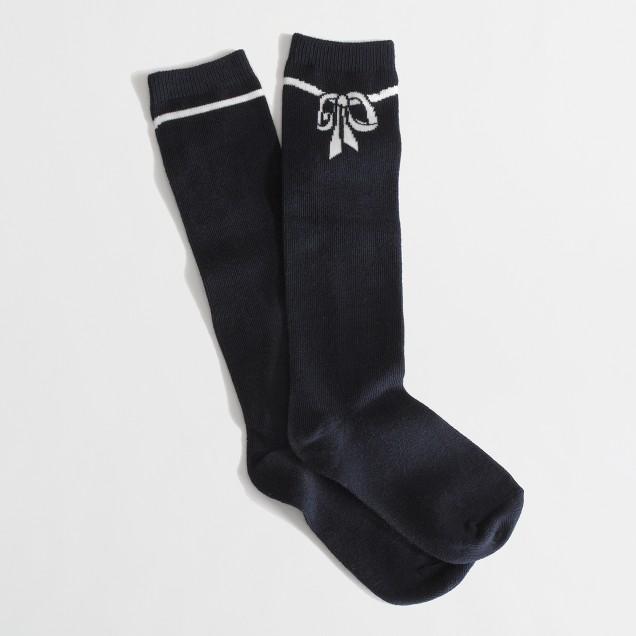 Factory girls' bow knee-high socks
