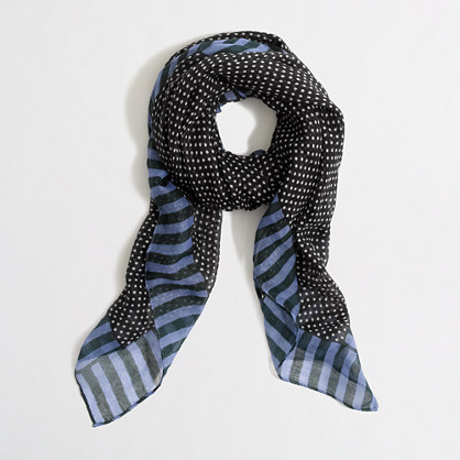 Factory dot-stripe tissue scarf