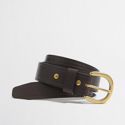 Factory creased-edge leather belt