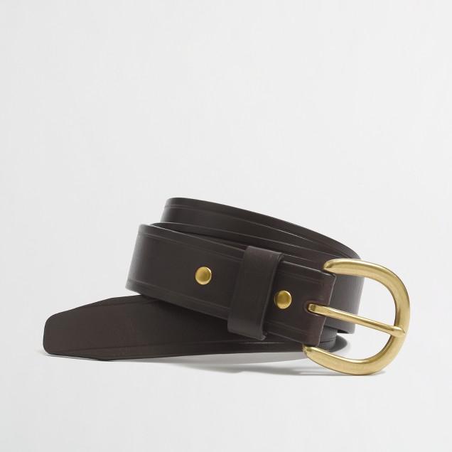 Factory creased-edge leather belt