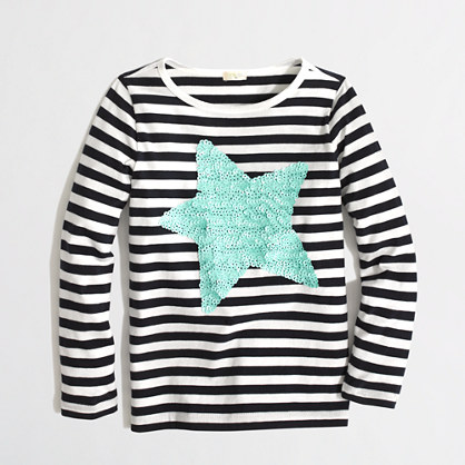Factory girls' long-sleeve stripe sparkle star keepsake tee