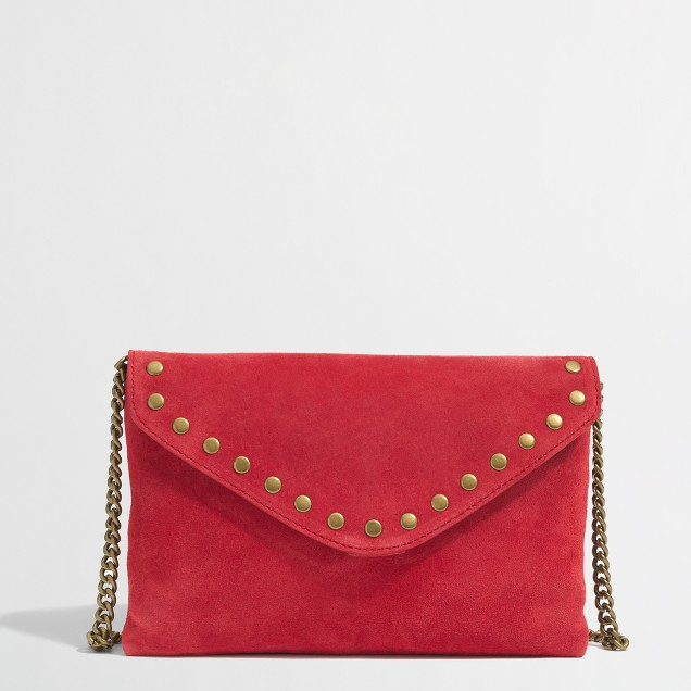 Factory studded suede and leather envelope clutch