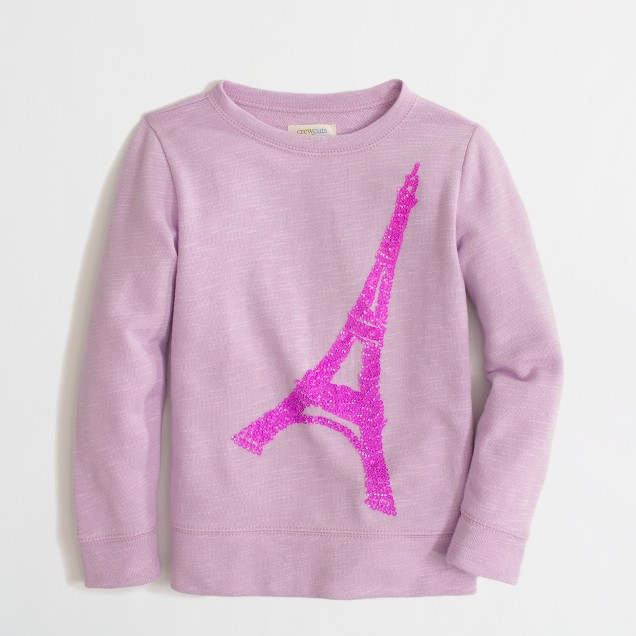 Factory girls' sequin Eiffel Tower keepsake sweatshirt