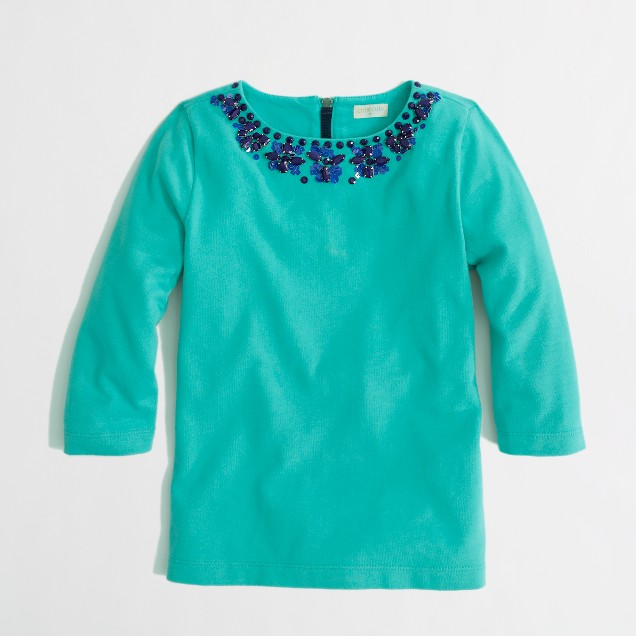 Factory girls' long-sleeve necklace keepsake tee