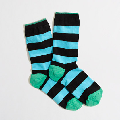 Factory wide-stripe trouser socks