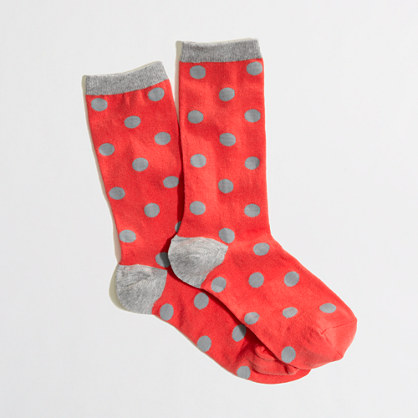 Factory tipped polka-dot trouser socks