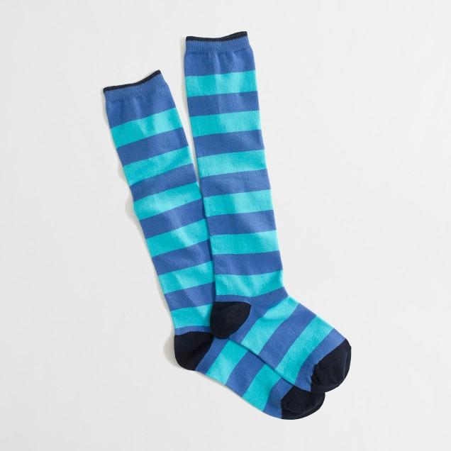 Factory wide-stripe knee socks