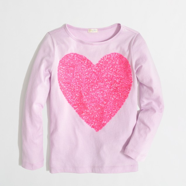 Factory girls' long-sleeve sparkle heart keepsake tee