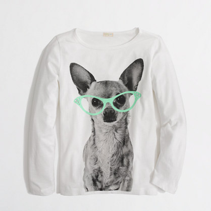 Factory girls' long-sleeve diva dog keepsake tee