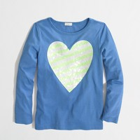 Factory girls' long-sleeve glow-in-the-dark heart keepsake tee