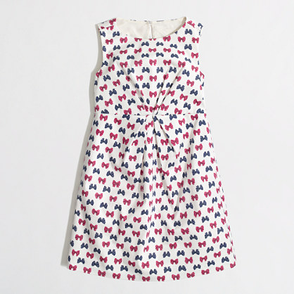 Factory girls' pleated bow dress