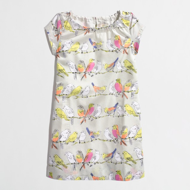 Factory girls' printed cap-sleeve dress
