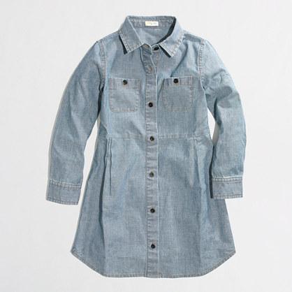 Factory girls' chambray shirtdress