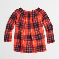 Factory girls' plaid bow-back top