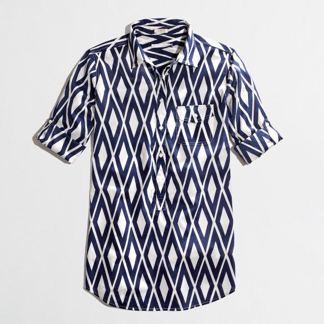 Factory printed chambray pocket tunic