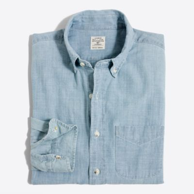 Chambray one-pocket shirt factorymen casual shirts c
