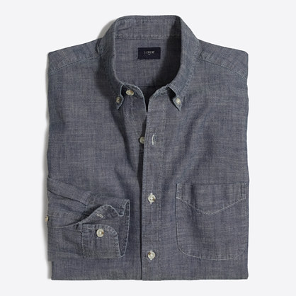 Slim chambray one-pocket shirt