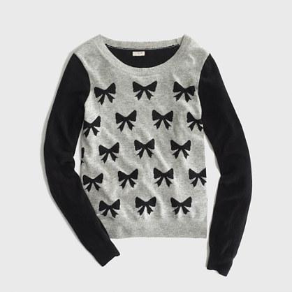 Factory warmspun intarsia bows sweater